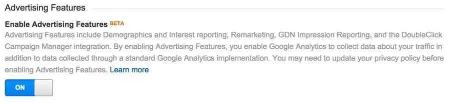 Mainostajan ominaisuudet Google Analytics
