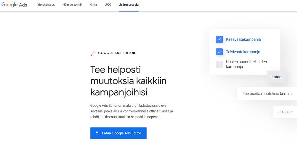 Google Ads editor